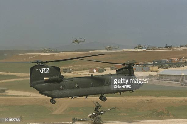 US military in Yugoslavia in April 2000 CH47 Chinook helicopter 105MM Honitzer