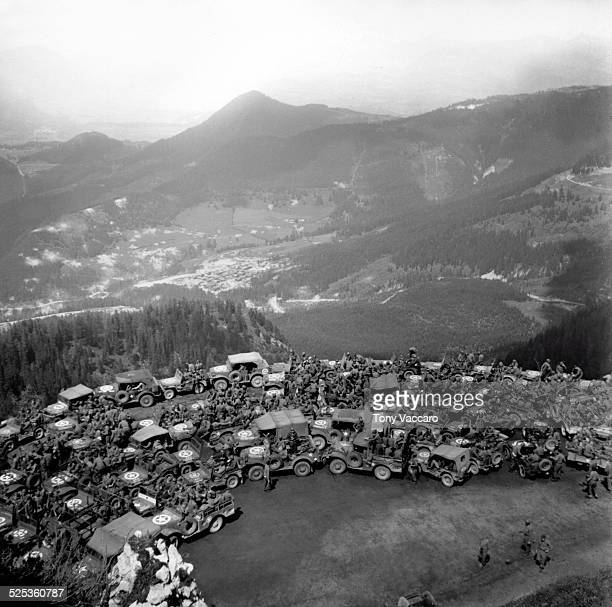 US military jeeps seen in the grounds of Hitler's Alpine retreat the Berghof Obersalzberg Germany World War II June 1945