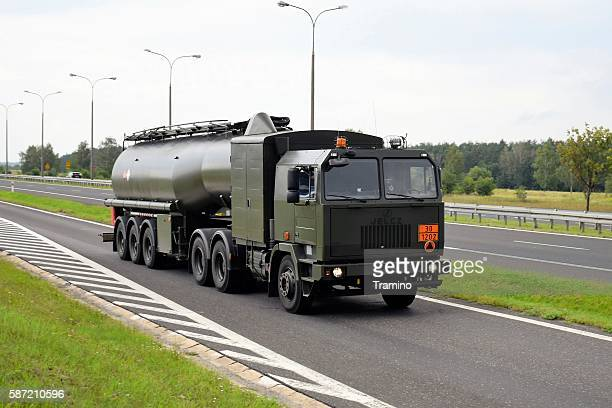 Military Jelcz 642 fuel-tanker on the road