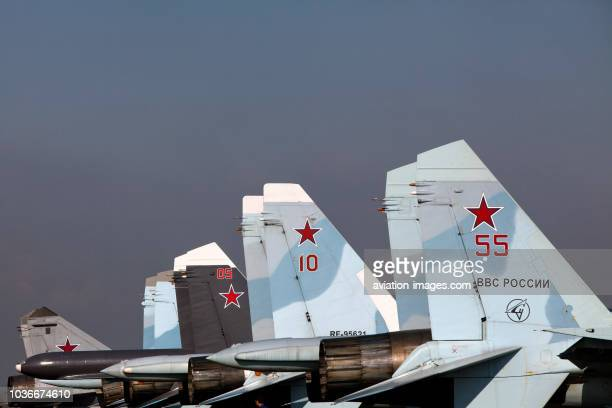 Military jet aircrafts of Russian Air Force pictured at MAKS airshow in Zhukovsky, near Moscow, Russia.