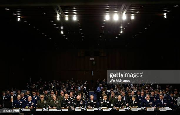 S military leaders including all six members of the Joint Chiefs of Staff testify before the Senate Armed Services Committee on pending legislation...