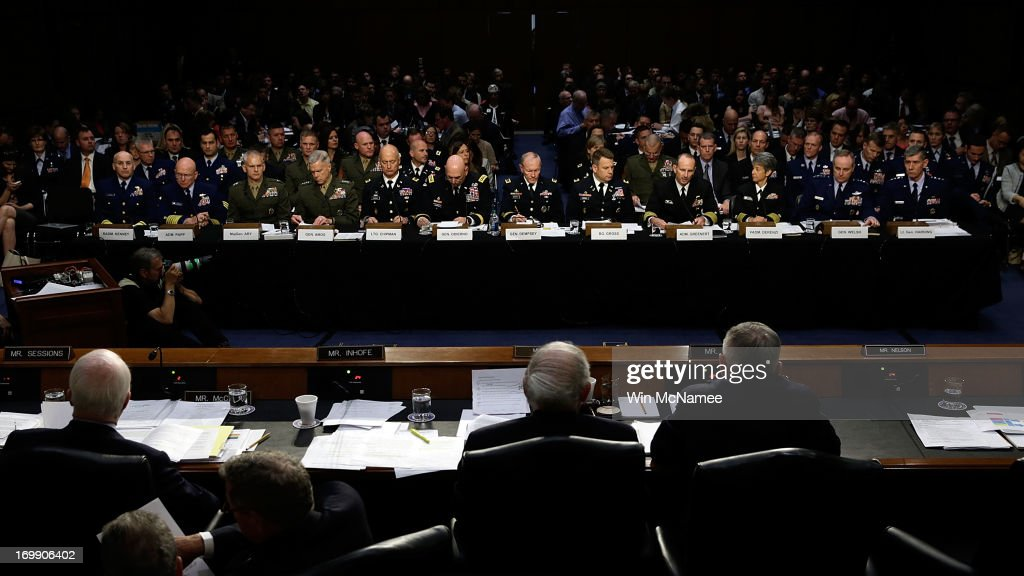 U.S. military leaders, including all six members of the Joint Chiefs of Staff, testify before the Senate Armed Services Committee on pending legislation regarding sexual assaults in the military June 4, 2013 in Washington, DC. A recent survey of active duty personnel by the Pentagon revealed that 6.1 percent of women and 1.2 percent of men reported receiving 'unwanted sexual contact' in the past year. Pictured (L-R) Judge Advocate General of the Coast Guard Rear Adm. Frederick Kenney Jr.; Commandant of the Coast Guard Adm. Robert Papp Jr.; Staff Judge Advocate to the Commandant of the Marine Corps Maj. Gen. Vaughn Ary; Commandant of the Marine Corps Gen. James Amos; Judge Advocate General of the Army Lt. Gen. Dana Chipman; Chief of Staff of the Army Gen. Raymond Odierno; Chairman of the Joint Chiefs of Staff Gen. Martin Dempsey; Legal Counsel to the Chairman of the Joint Chiefs of Staff Brig. Gen. Richard Gross; Chief of Naval Operations Adm. Jonathan Greenert; Judge Advocate General of the Navy Vice Adm. Nanette DeRenzi; Chief of Staff of the Air Force Gen. Mark Welsh III; and Judge Advocate General of the Air Force Lt. Gen. Richard Harding.