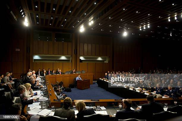 US military leaders including all six members of the Joint Chiefs of Staff testify before the Armed Services Committee hearing on pending legislation...