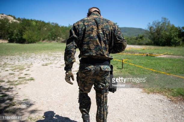 military man at the shooting range - army training stock pictures, royalty-free photos & images