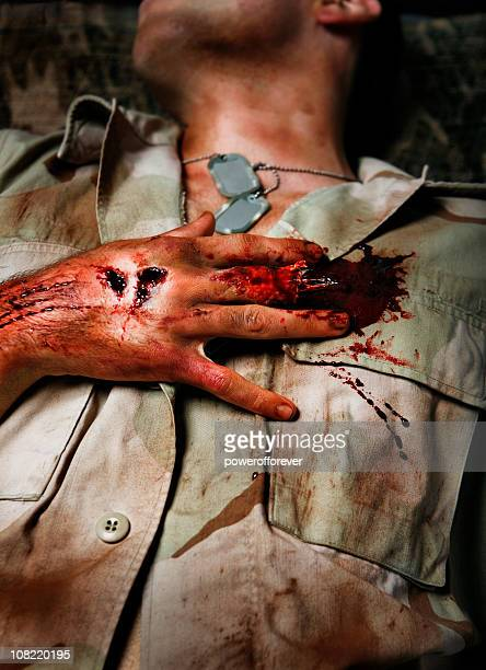 military man with severed finger - cut on finger stock photos and pictures