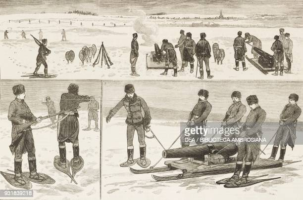 Military manoeuvres sham fight on snowshoes near Quebec Canada 1 Field guns opening fire 2 Close quarters 3 Bringing a field gun into action...