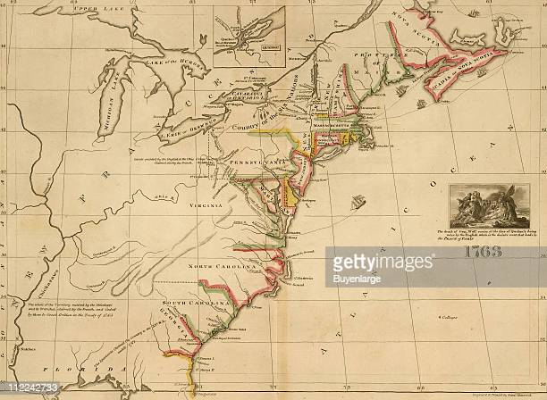 Military map of the eastern United States and Canada during the French and Indian Wars with an inset image of the death of British General Wolfe in...