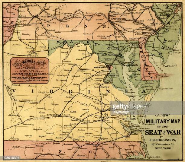 Military map of the United States showing eastern and central Virginia Maryland Delaware southern Pennsylvania and northern North Carolina with its...