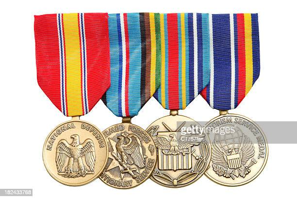 4 military medals hanging on colorful ribbons - marines military stock photos and pictures