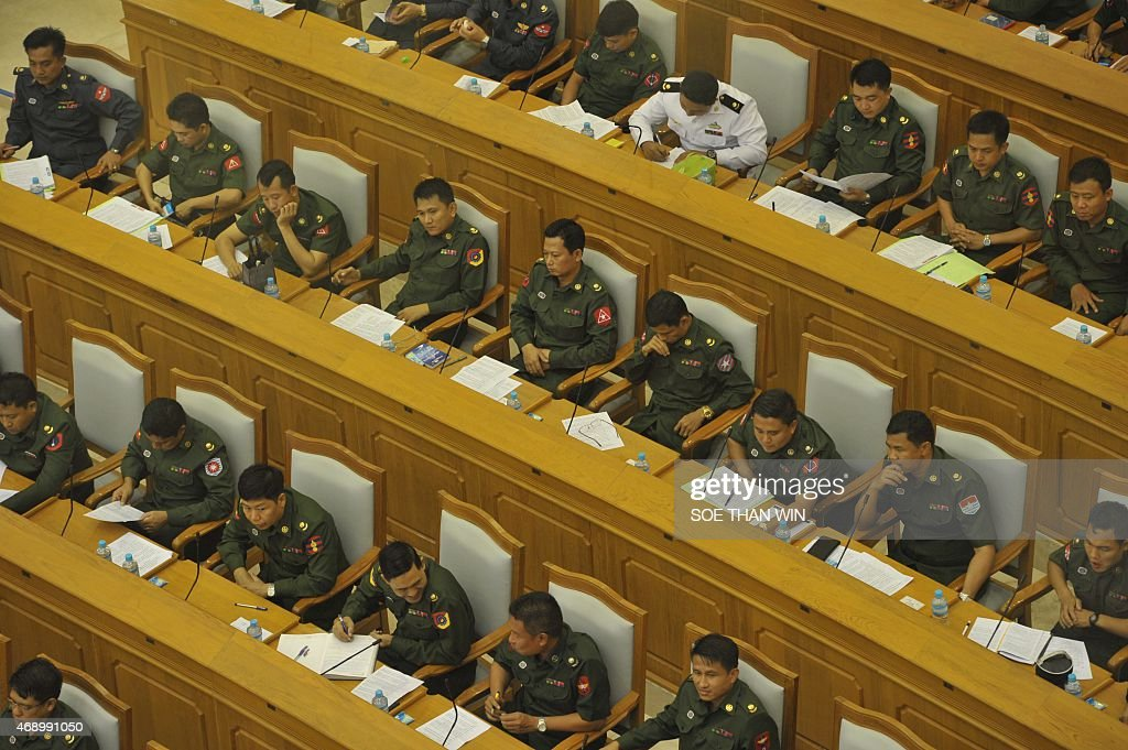 Military members of parliament attend the Union parliament session in Naypyidaw on April 9, 2015.