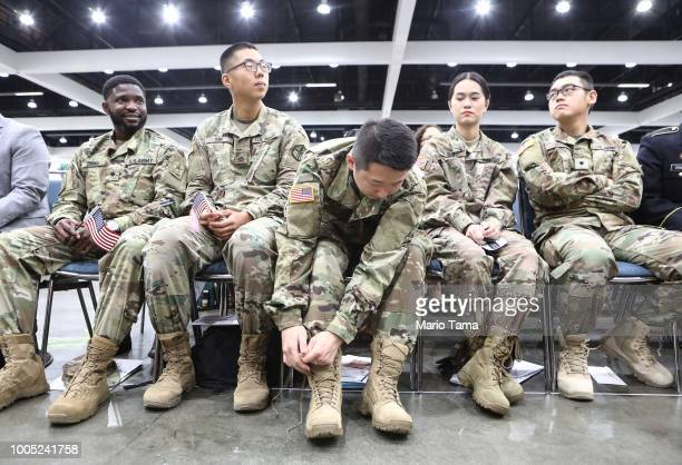 S military members prepare to become US citizens at a naturalization ceremony on July 25 2018 in Los Angeles California Two naturalization ceremonies...