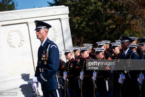 Military members stand at attention next to the Tomb of the Unknown Soldier at Arlington National Cemetery on November 11 2018 in Arlington Virginia