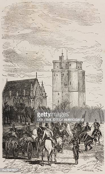 Military men on horseback and cannon in front of Vincennes dungeon, engraving by Sotain based on a drawing by Brown, from Paris-Guide by leading...