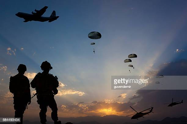 military mission at dusk - paramilitary stock pictures, royalty-free photos & images