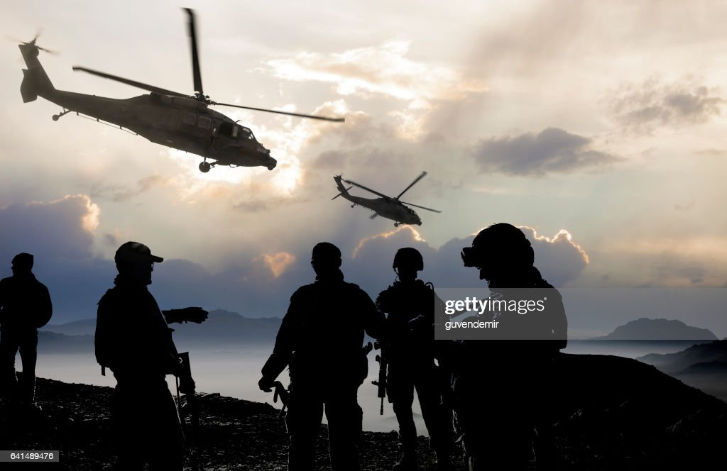 Military Mission at dusk : Stock Photo