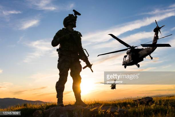 military mission at sunrise - army soldier stock pictures, royalty-free photos & images
