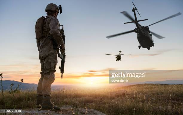 military mission at sunrise - battlefield stock pictures, royalty-free photos & images
