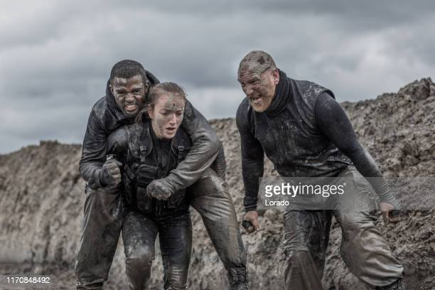military mud run exercise - rank stock pictures, royalty-free photos & images