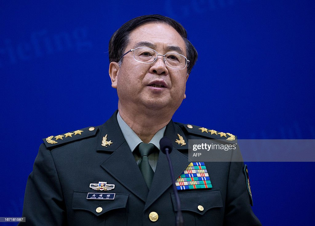 US military officer General Martin Dempsey (not pictured) and his Chinese counterpart General Fang Fenghui hold a joint press conference at the Bayi Building in Beijing on April 22, 2013. Dempsey paid a rare visit to China as the Pacific powers discuss concern over tensions with North Korea, the Pentagon.
