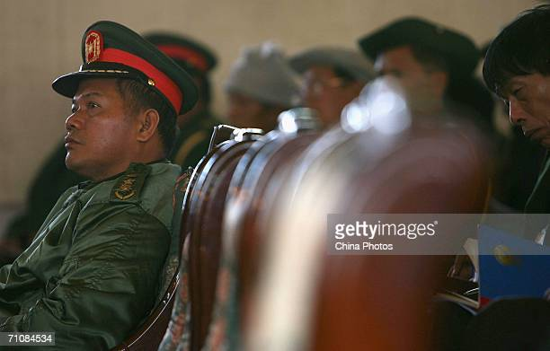A military officer of the New Democratic ArmyKachin attends the Kachin State Special Region 1 People's Conference on March 20 2006 in Panwa Kachin...