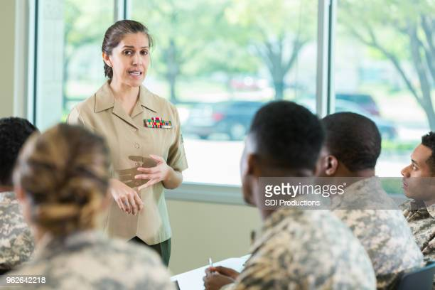 military officer teaching class in military academy - officer military rank stock pictures, royalty-free photos & images
