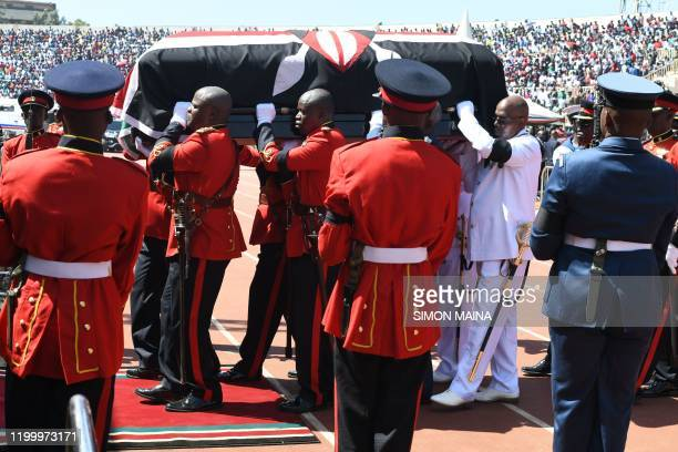 Military officers carrying the coffin of the late former Kenya President Daniel Arap Moi draped in the Kenya national flag during a state funeral...