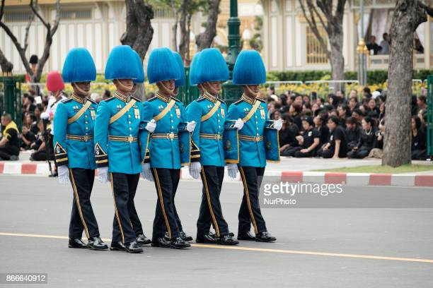 Military officers tke part in the procession of honour for the funeral of the late Thai King Bhumiphol Adulyadej in Bangkok on October 26 2017