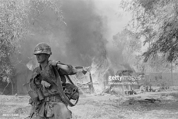 Military operation of the 199th Infantry Brigade near Phu To Hippodrome, 2 kilometers northwest of Saigon. Three GIs and 8 Viet Cong soldiers have...