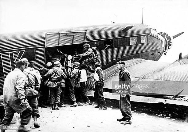 Plane unloading military equipment in Crete June 1941 Greece Second World War war