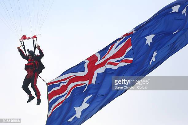 Military Parachutists land before the Dragon's and Roosters ANZAC day clash at Allianz Stadium. Sydney, Australia. Saturday, 25th April 2015
