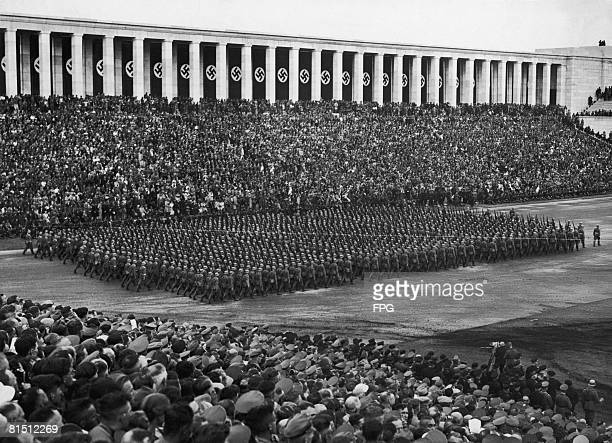 Military parade by Luftwaffe troops to mark Wehrmacht Day at the Zeppelin Field in Nuremberg, 14th September 1936. The grandstand is the work of...