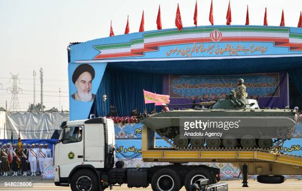 Military parade held to mark the National Army Day in front of the Mausoleum of Ayatollah Khomeini in Tehran Iran on April 18 2018 Military parades...