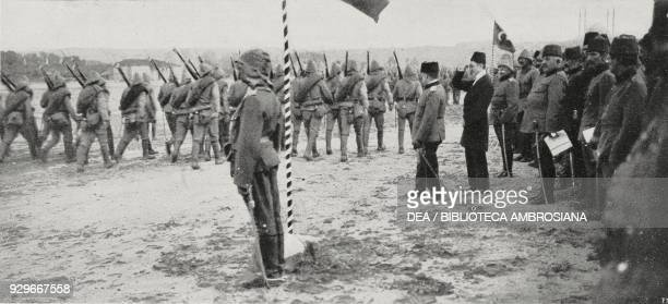 Military parade in Adrianople after being recaptured by Turkish troops 1 Hereditary prince Yusuf Izzeddin 2 Sultan Ziaeddin Effendi's son Turkey...