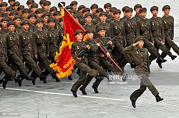 Military parade in Kim Il Sung Square in Pyongyang capital of the Democratic People's Republic of Korea The Democratic People's Republic of Korea...