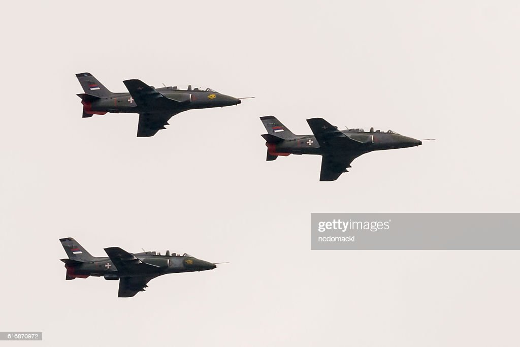 Military parade in Novi Sad - Serbian air force : Stock Photo