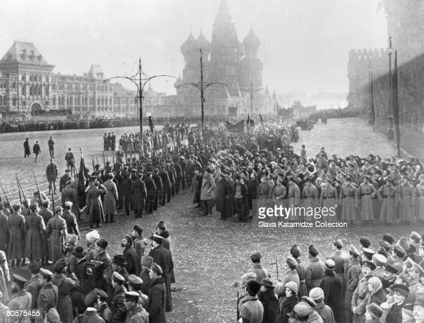 A military parade in Red Square Moscow 1918