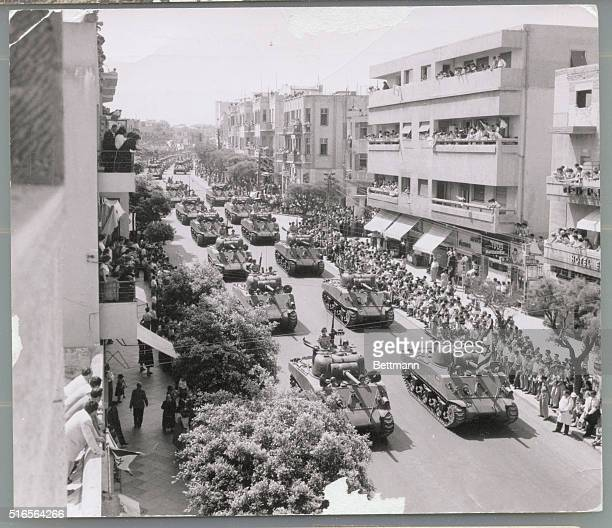 A military parade in Tel Aviv Israel on the day of the country's independence April 26 1955