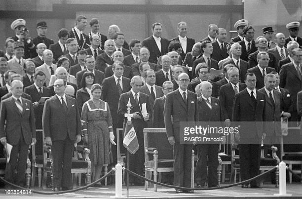 Military Parade July 14Th 1978 14 juillet 1978 défilé sur les champs Elysées Sur la tribune Jacque CHABAN DELMAS Raymond BARRE Simone VEIL Alain...