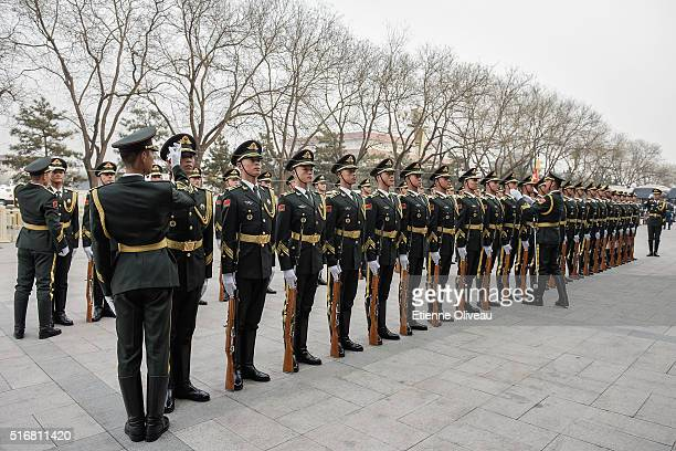 Military parade rehearsal at the Great Hall of the People on March 21, 2016 in Beijing, China. At the invitation of president Xi Jinping, Joachim...