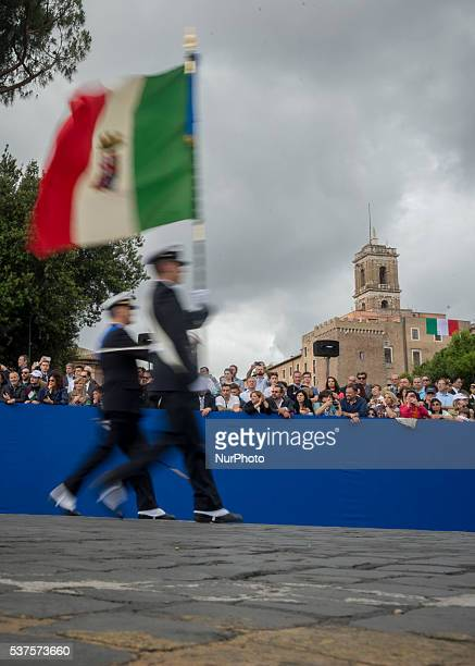 Military parade to mark the 70th anniversary of the Italian Republic on June 2 2016 at Piazza Venezia in Rome Italy