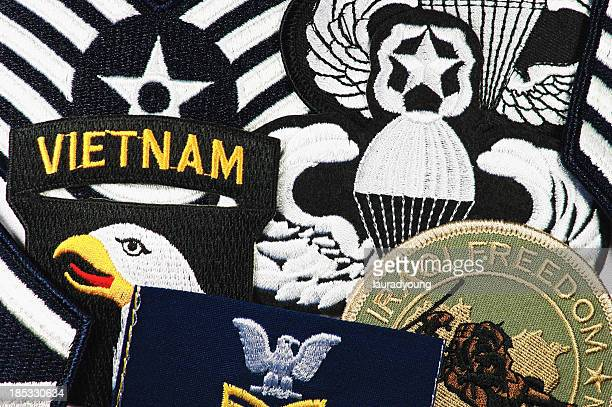 us military patches montage - us military emblems stock pictures, royalty-free photos & images