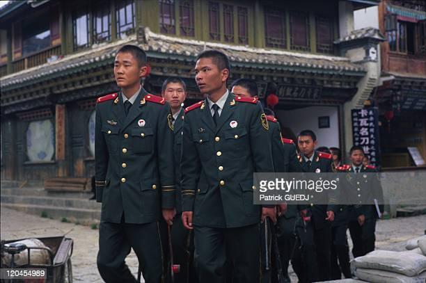 Military people in Shangri La, Zhongdian, Yunnan, China.