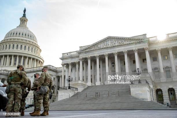 Military personal stage outside the US Capitol before U.S. President Joe Biden will address a joint session of congress in the House chamber of the...
