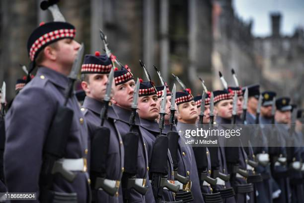 Military personel attend a wreath laying at the Stone of Remembrance outside the Edinburgh City Chambers on November 10 2019 in Edinburgh Scotland...