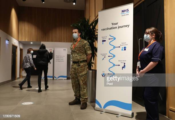 Military personnel alongside NHS staff at the vaccination programme at the Royal Highland Showground on February 4, 2021 in Edinburgh, Scotland. More...