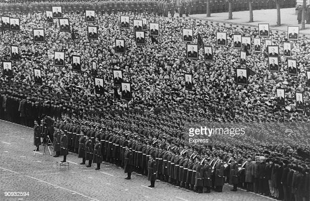 Military personnel and members of the public at a Meeting Of Mourning prior to the funeral of General Secretary of the Communist Party of the Soviet...