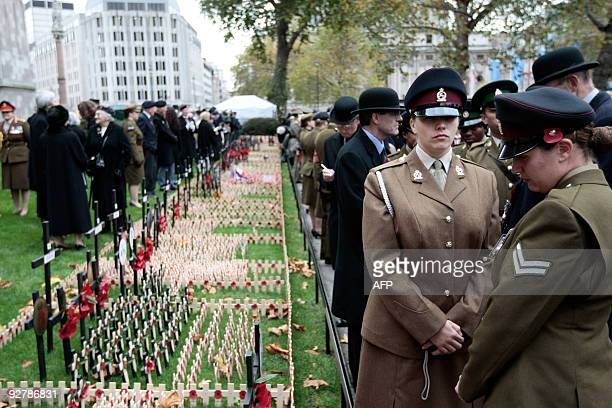 Military personnel and veterans gather for a remembrance service to honour Britain's fallen servicemen and women at Westminster Abbey in London, on...