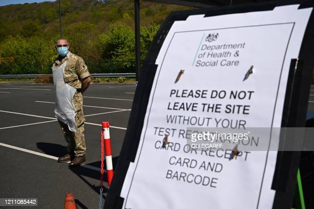 Military personnel assist at a drive-in testing facility for the novel coronavirus COVID-19 in Scarborough, northeast England on April 27, 2020. -...