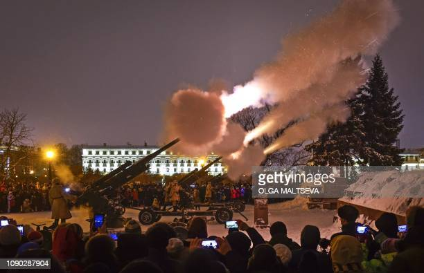 Military personnel fire guns during a salute in memory of the gun fire that marked the end in 1944 of the siege of Leningrad which lasted for 872...