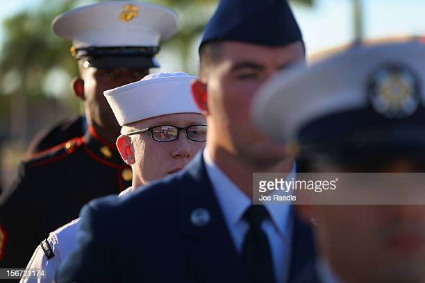 Military personnel from the Joint Color Guard are seen before the start of the change of command ceremony at the United States Southern Command on...